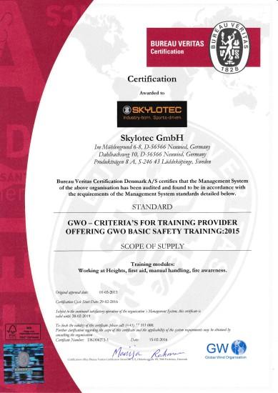 GWO 4 Moduls Certificate 2016-2019
