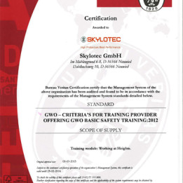 SKYLOTEC receives certification from GWO (Global Wind Organisation)