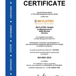 SKYLOTEC receives new ISO certification