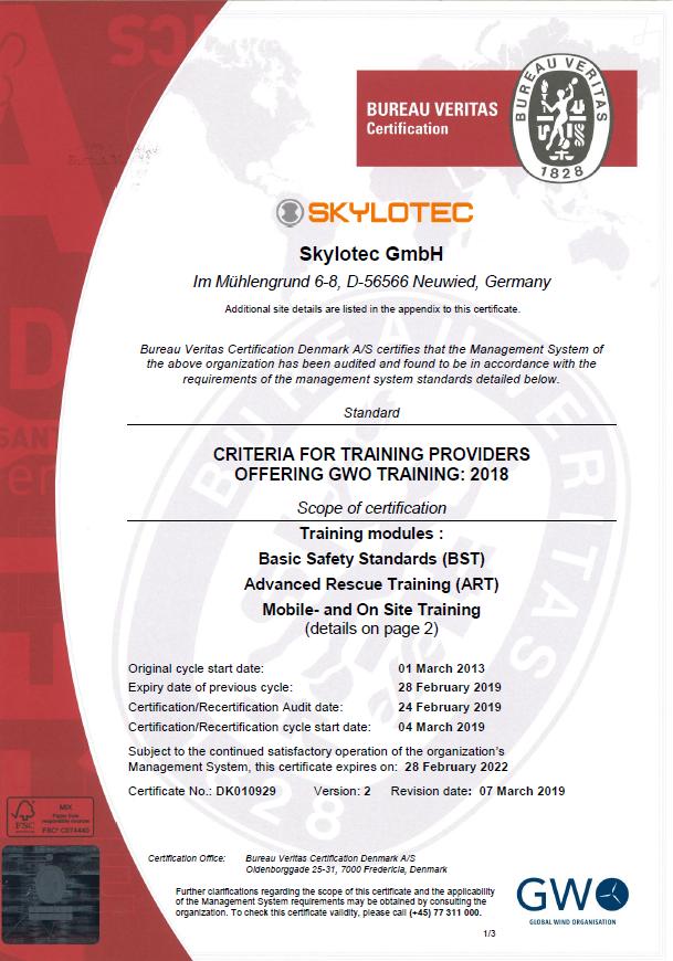 SKYLOTEC GWO certificate